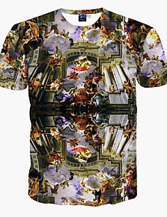 Polyester Sort Medium Kortermet,Rund hals T-skjorte Trykt mønster Vår / Sommer Enkel / Bohem / Aktiv Ut på byen / Strand / Ferie Herre
