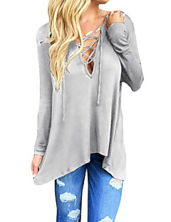 cheap -Women's Lace up Plus Size / Going out / Casual/Daily Sexy / Vintage / Street chic Spring / Fall T-shirt