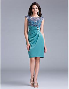 billiga Cocktailklänningar-ts couture® cocktailparty klänning slida / kolumn Bateau knälång spets / satin