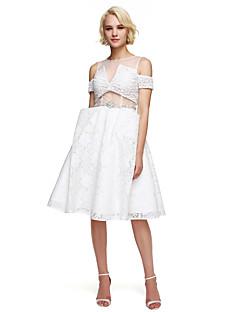 Linia -A Bijuterie Lungime Genunchi Dantelă Petrecere Cocktail Venire Acasă Bal Rochie cu Mărgele Detalii Cristal de TS Couture®