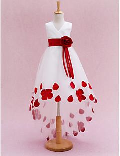abordables -Princesse Traîne Chapelle Robe de Demoiselle d'Honneur Fille - Satin Tulle Sans Manches Col en V avec Ceinture / Ruban Plissé Fleur par