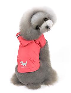 billiga Hundkläder-Hund Huvtröjor Regnjacka Hundkläder Enfärgad Gul Röd Blå Nylon Kostym För husdjur Herr Dam Vindtät Vattentät
