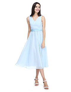 cheap Imperial Blue-A-Line V Neck Tea Length Chiffon Bridesmaid Dress with Sash / Ribbon Criss Cross Side Draping by LAN TING BRIDE®
