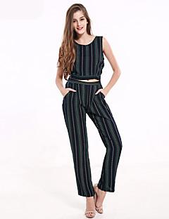 abordables -Débardeur Pantalon Costumes Femme,Rayé Décontracté / Quotidien / Sortie Vintage Toutes les Saisons Sans Manches Col Arrondi BleuCoton /