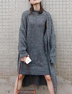 tanie Swetry damskie-Damskie Futro z królika Długi Rozpinany Jendolity kolor Długi rękaw