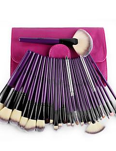 24 Brush Sets Nylonkwast Professioneel Reizen Beugel synthetisch Milieuvriendelijk Hypoallergeen Draagbaar Hout Gezicht Lip Oog MSQ