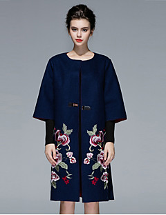 Women's Fall Winter Trench Coat Notch Lapel Long Sleeve Maxi Embroidered