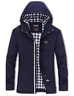 Bomull / Akryl Blå / Beige / Grønn Medium Langermet,Skjortekrage Frakk Ensfarget Enkel / AktivFritid/hverdag / Plusstørrelser / Ut på