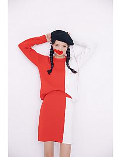 abordables -Set Jupe Costumes Femme,Mosaïque Décontracté / Quotidien simple Hiver Manches Longues Col Arrondi Rouge / Noir / Gris Autres Moyen