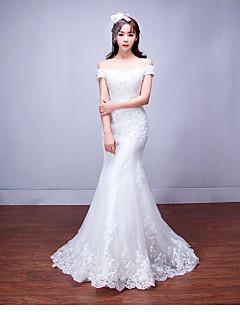 olcso -Sellő fazon Földig érő Tüll Esküvői ruha val vel Gyöngydíszítés Rátétek által LAN TING BRIDE®