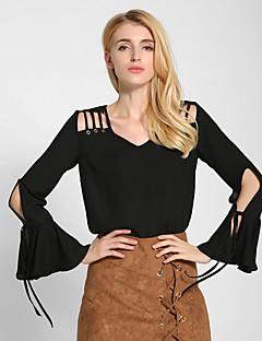 Damen Solide Einfach Ausgehen / Lässig/Alltäglich Bluse,V-Ausschnitt Alle Saisons Langarm Rot / Weiß / Schwarz Baumwolle / Andere Dünn