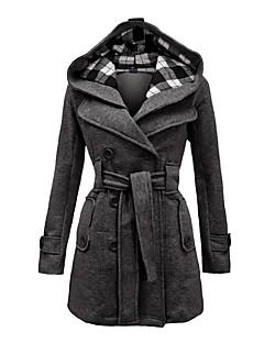 Dámské Běžné/Denní Vintage Kabát-Zima Kapuce Dlouhé rukávy Dlouhé