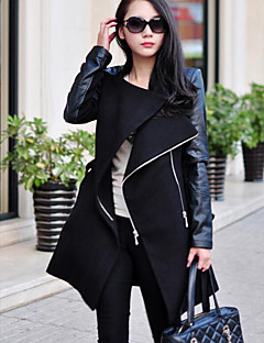 お買い得  レディースコート&トレンチコート-女性用 プラスサイズ コート-ベーシック ソリッド パッチワーク