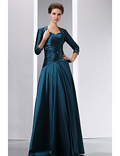 A-Line Jewel Neck Floor Length Taffeta Mother of the Bride Dress with Beading Appliques by XFLS