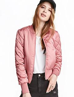 Damen Solide Einfach Lässig/Alltäglich Jacke,Winter Langarm Rosa / Rot / Schwarz / Grün / Gelb Polyester