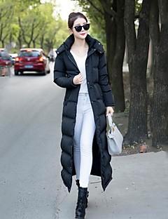 Manteau Doudoune Femme,Long simple Décontracté / Quotidien Couleur Pleine-Coton Polypropylène Manches Longues Noir Capuche