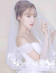 Two-tier Lace Applique Edge Wedding Veil Elbow Veils With Applique Scattered Bead Floral Motif Style Tulle