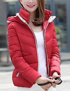 cheap Women's Downs & Parkas-Women's Regular Padded Coat,Simple Casual/Daily Solid-Polyester Polypropylene Long Sleeves Hooded