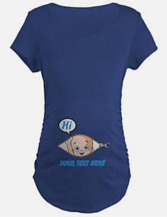 Annelik İnce Pamuklu / Splandeks Kısa Kollu Yuvarlak Yaka Yaz Solid Sevimli Günlük/Sade Mavi / Siyah / Turuncu-Annelik Tişört
