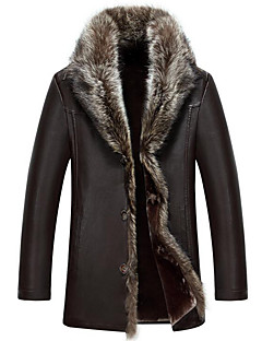 cheap Men's Furs & Leathers-Men's Plus Size / Casual/Daily Simple Fur Coat,Solid Long Sleeve Red / Black / Brown Special Leather Types
