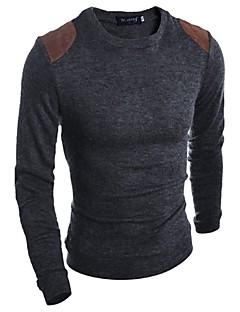 Herren Standard Pullover-Lässig/Alltäglich Arbeit Sport Solide Langarm Baumwolle