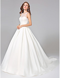 cheap Wedding Dresses-Ball Gown Illusion Neckline Chapel Train Mikado Custom Wedding Dresses with Beading Sash / Ribbon Button Ruched by LAN TING BRIDE®