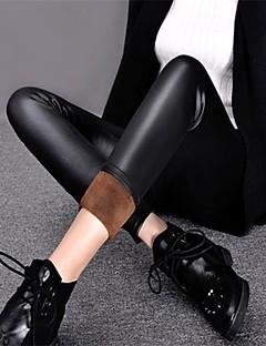 Χαμηλού Κόστους Fleece Lined Leggings-Γυναικεία Επένδυση Φλις Γκέτα - Μονόχρωμο Μεσαία Μέση