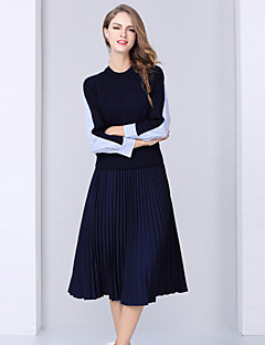 Women's Daily Casual Fall Blouse Set Skirt Suits,Striped Round Neck Long Sleeve Long Sleeves Polyester