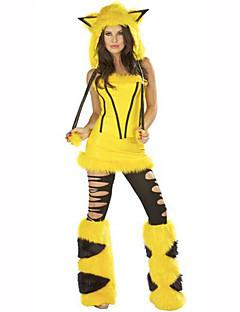 billige Halloweenkostymer-Fox Girl Dame Jul / Halloween / Karneval Festival / høytid Halloween-kostymer Gul Trykt mønster