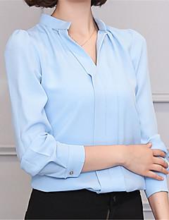 Χαμηλού Κόστους The Must Have Styles-Γυναικεία Πουκάμισο Δουλειά Μονόχρωμο, Φουσκωτό Μανίκι Λαιμόκοψη V / Φθινόπωρο