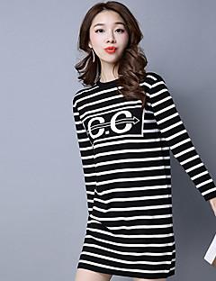 여성 니트웨어 드레스 캐쥬얼/데일리 플러스 사이즈 심플 줄무늬,라운드 넥 무릎길이 긴 소매 면 레이온 가을 겨울 중간 밑위 약간의 신축성 중간