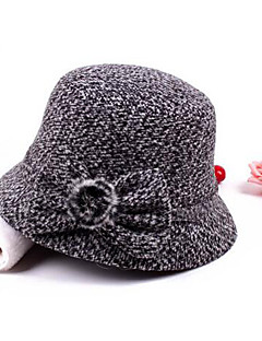 Women's Polyester Bowler/Cloche Hat,Casual Print Winter Fall Brown Red Dark Gray Light gray