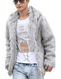 Men's Office / Career Ceremony Stage Formal New Year Elegant & Luxurious Winter Fur Coat,Solid Color V Neck Long Sleeve Regular N/A
