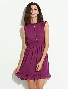 billige Minikjoler-Dame Plusstørrelser I-byen-tøj Chiffon Kjole - Ensfarvet, Drapering Flettet Mini