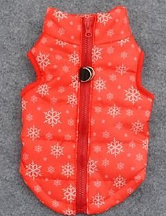 お買い得  犬用ウェア-犬 コート ベスト 犬用ウェア 高通気性 保温 クリスマス スノーフレーク柄 オレンジ コスチューム ペット用