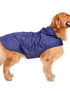 Dog Rain Coat Dog Clothes Waterproof Windproof Solid Dark Blue Red