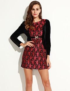 여성의 칼집 드레스 캐쥬얼/데일리 / 플러스 사이즈 빈티지 자수장식,라운드 넥 무릎 위 긴 소매 레드 / 골드 폴리에스테르 가을