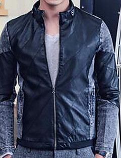 Χαμηλού Κόστους Men's Leather Jackets-Ανδρικά Σακάκι Πανκ & Γκόθικ-Συνδυασμός Χρωμάτων,Patchwork Όρθιος Γιακάς Λεπτό