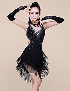 ラテンダンス ワンピース 女性用 演出 スパンデックス プロミックス ビーズ 3個 ノースリーブ ナチュラルウエスト ドレス ブレスレット