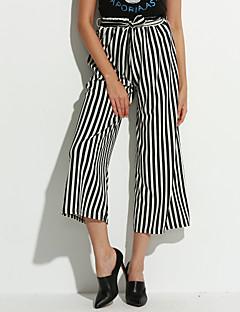 お買い得  Cropped Pants-女性用 クラシック・タイムレス ルーズ ワイドレッグ ジーンズ パンツ ストライプ
