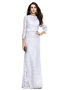 Sheath / Column Bateau Neck Floor Length Lace Mother of the Bride Dress with Bow(s) Sash / Ribbon by LAN TING BRIDE®