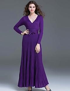 hesapli DREAMY LAND-Kadın's Çan Elbise - Solid V Yaka Maksi