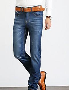 Men's High Rise Micro-elastic Straight Loose Jeans Pants,Simple Straight Loose Jeans Solid