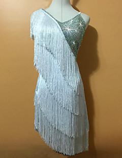 tanie Dziecięca odzież do tańca-Taniec latynoamerykański Suknie Damskie Wydajność Spandeks Frędzel Bez rękawów Naturalny Ubierać