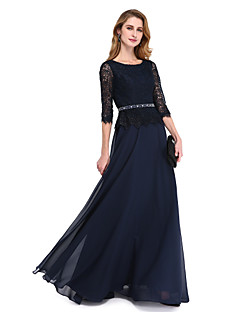 cheap -A-Line Jewel Neck Floor Length Chiffon Lace Bodice Mother of the Bride Dress with Beading Sash / Ribbon by LAN TING BRIDE®