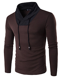 Men's Daily Sports Work Casual Active Regular Pullover,Color Block V Neck Long Sleeves Cotton Spring Medium Stretchy