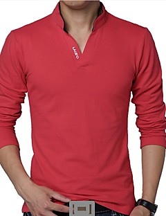 Men's Daily Plus Size Casual Spring Fall T-shirt,Solid Stand Long Sleeves Cotton Polyester Thin