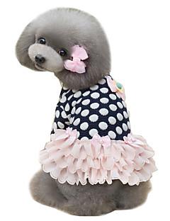 billiga Hundkläder-Hund Klänningar Hundkläder Prickig Mörkblå Rosa Cotton Kostym För husdjur Dam Gulligt