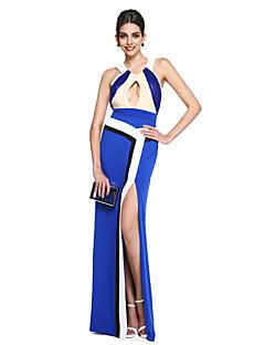 A-Linie Halter Boden-Länge Mattes Satin Georgette Ball Formeller Abend Kleid mit Seitlich drapiert durch TS Couture®