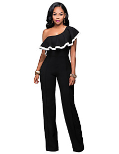 Women's Party Sexy Color Block One Shoulder Jumpsuits,Wide Leg Sleeveless Summer Fall Polyester